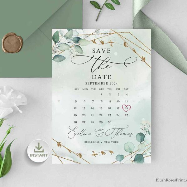 Save the Date Card Greenery and Gold Geometric