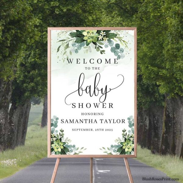 succulent-baby shower-welcome-sign-printable-template-digital-porch-sign