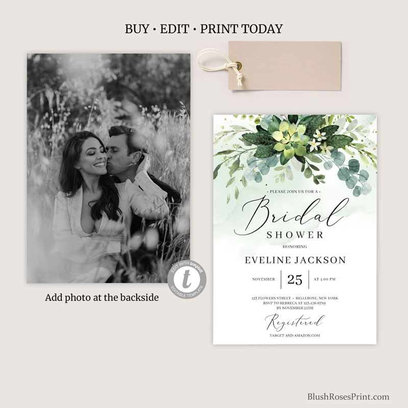 succulent-bridal-shower-invitation-with-photo
