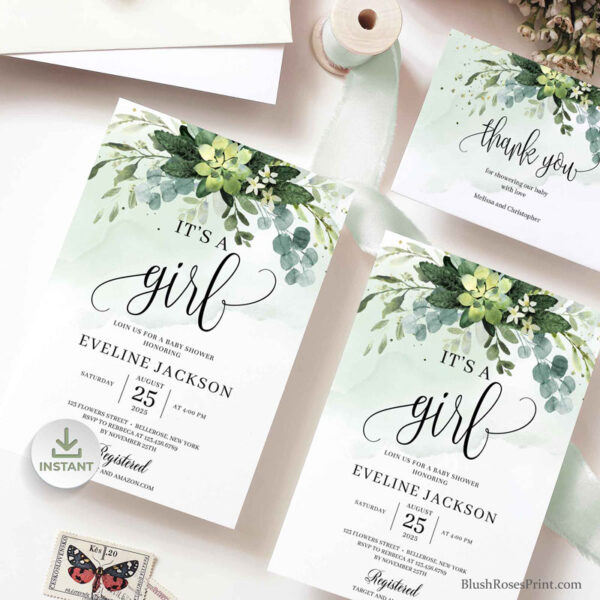succulent-its-a-girl-baby-shower-invitation-printed-or-printable