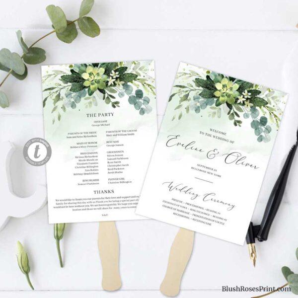 wedding-program-fan-succulent-flowers-and-eucalyptus-greenery-folaige-printed-axxxxx