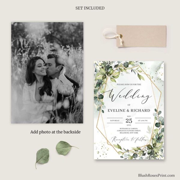 greenery foliage gold geometric wedding invite