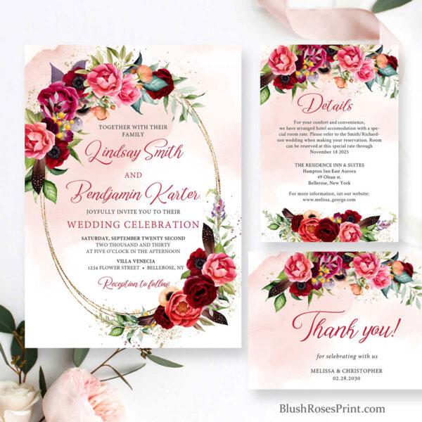 maroon flowers roses wedding set printable