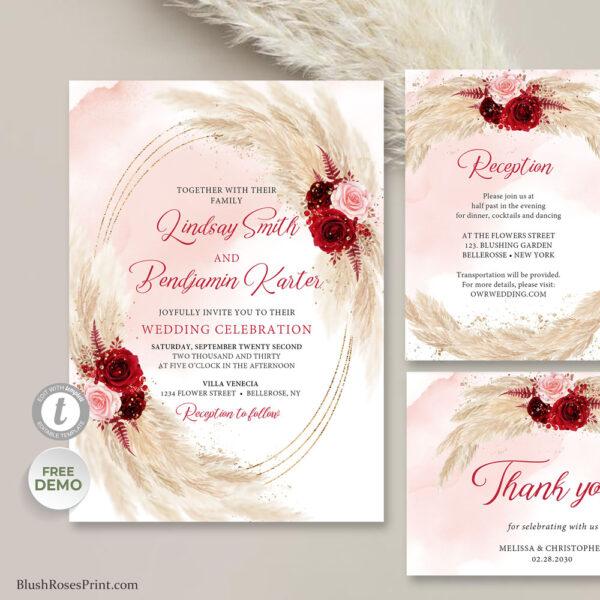 pampas grass blush pink and burgundy flowers wedding template