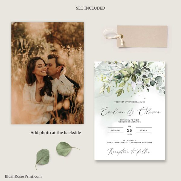 wedding invitation with photo at the backside