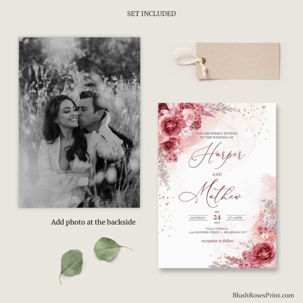 deep red roses and gold glitter wedding kit