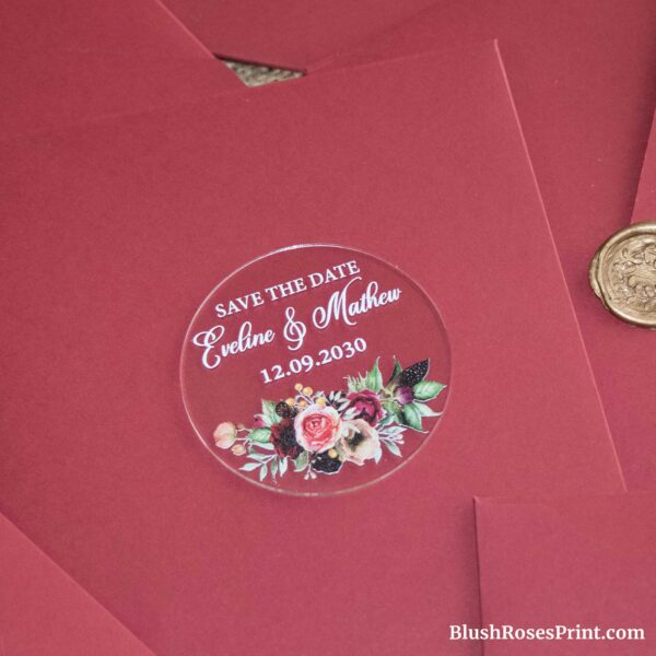 burgundy flowers acrylic save the date magnet