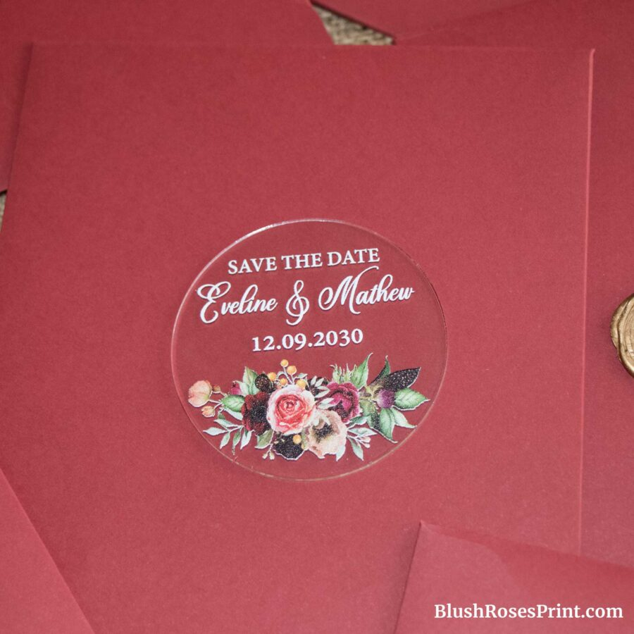 deep red flowers acrylic save the date