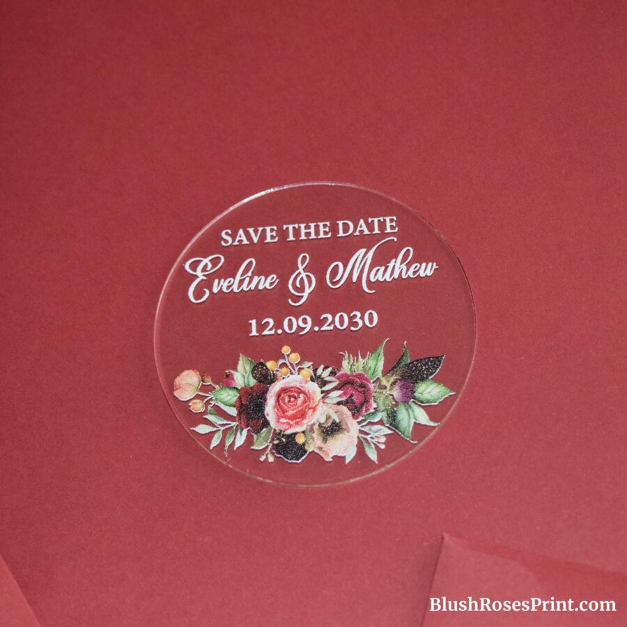 maroon flowers save the date magnet