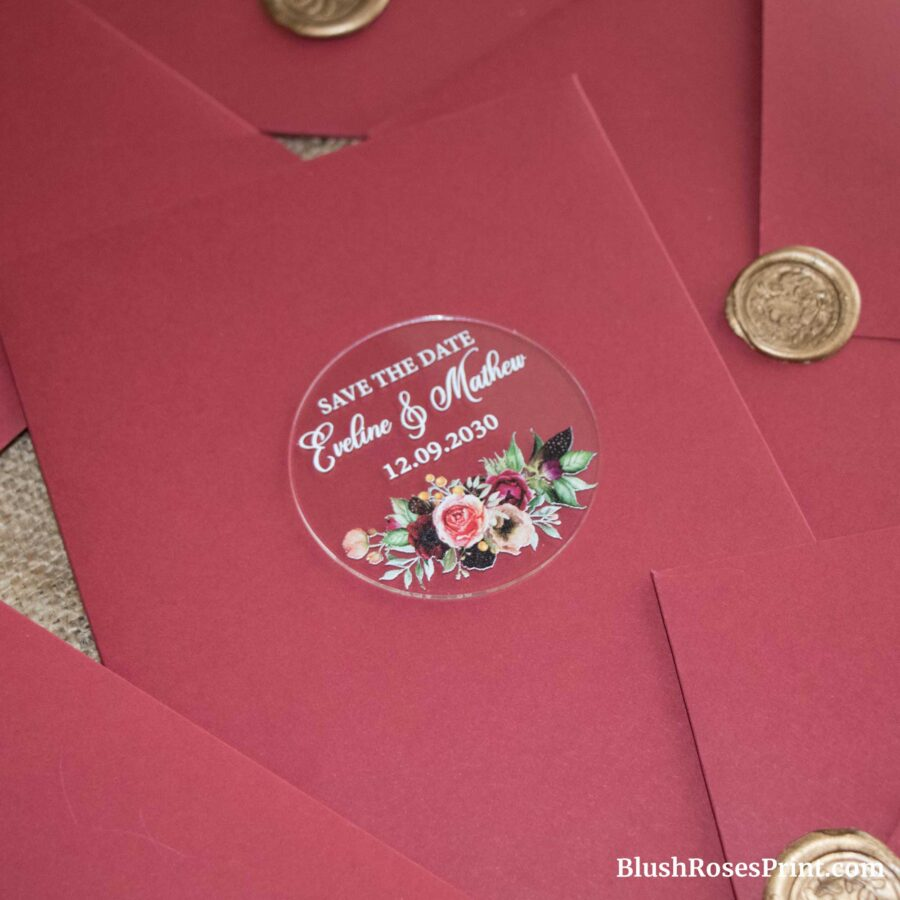 merlot flowers save the date magnet