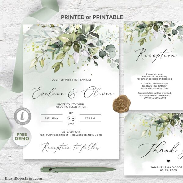 boho eucalyptus wedding template suite