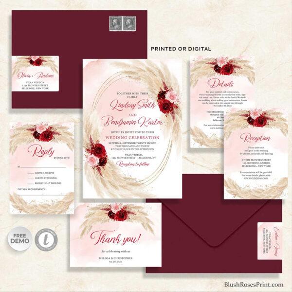 boho pampas grass and blush burgundy roses flowers wedding set