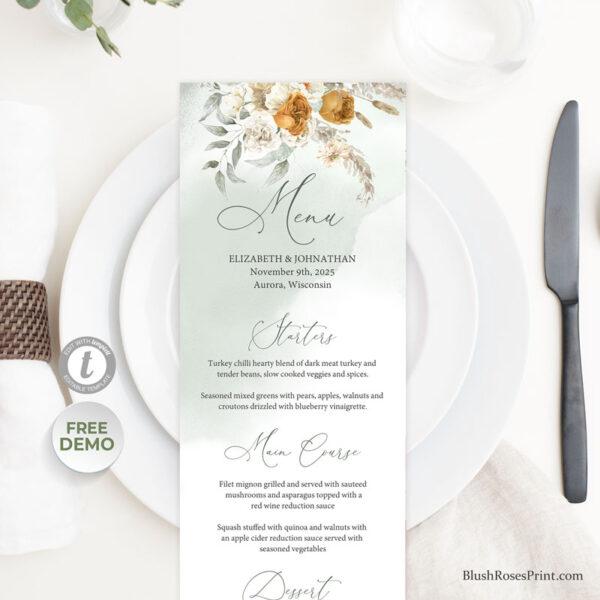 trendy color scheme wedding menu