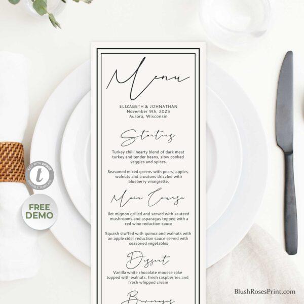 modern elegant wedding menu template