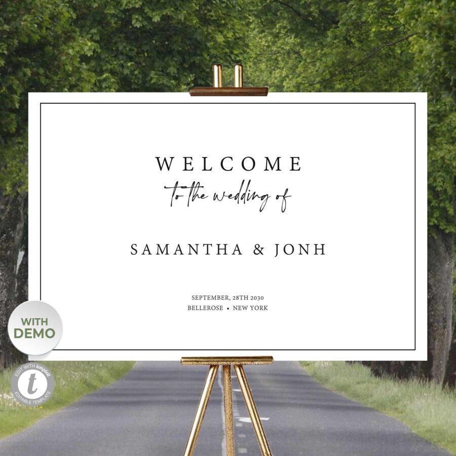 elegant clear welcome sign wedding