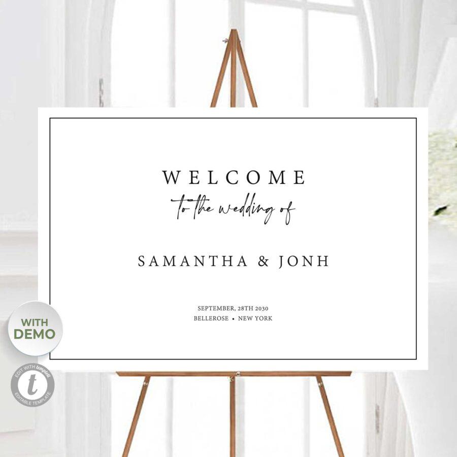 editable wedding welcome sign large
