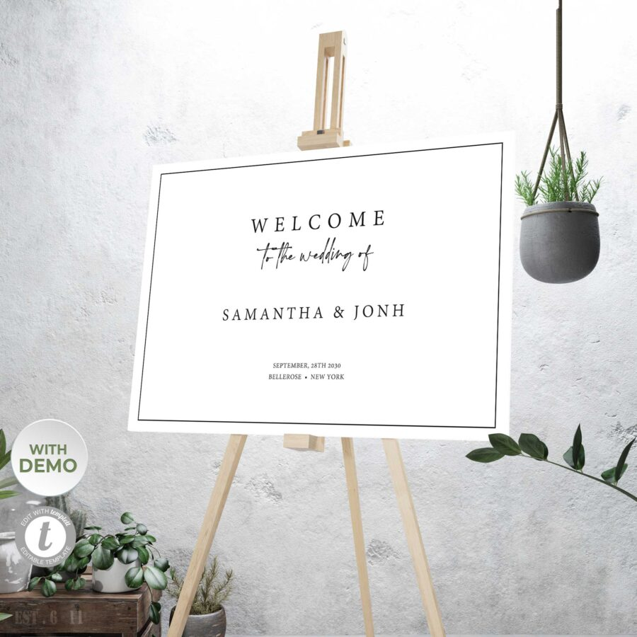 fully editable wedding welcome sign
