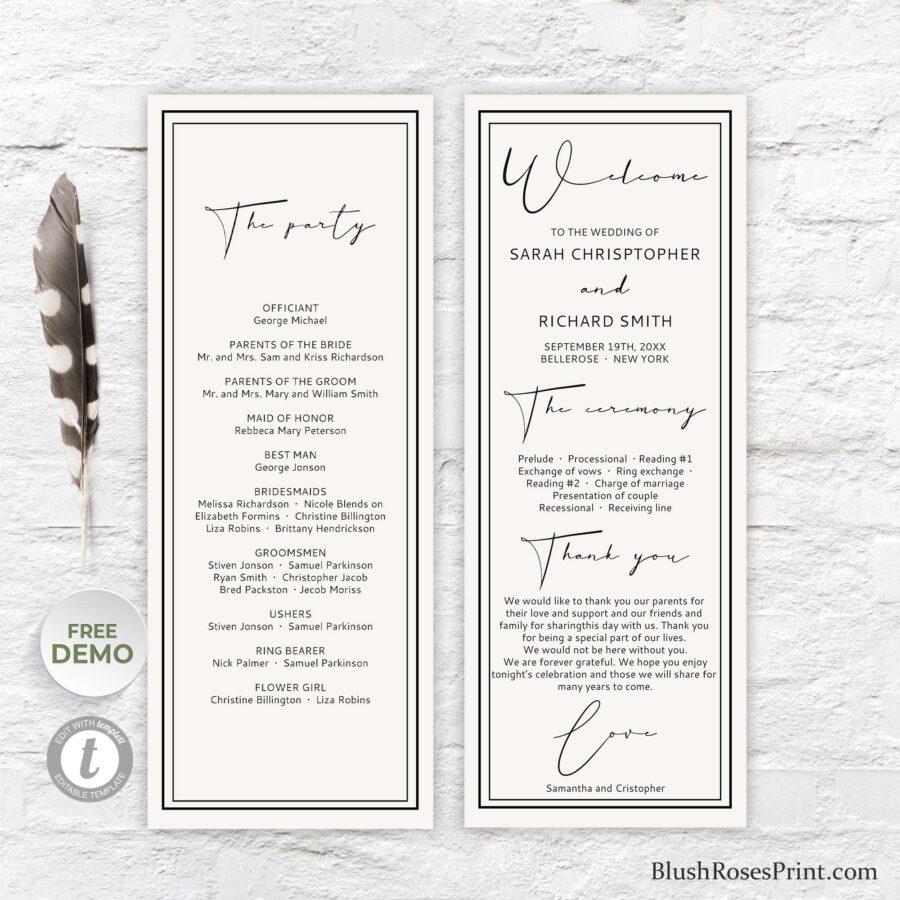 black and white wedding program template