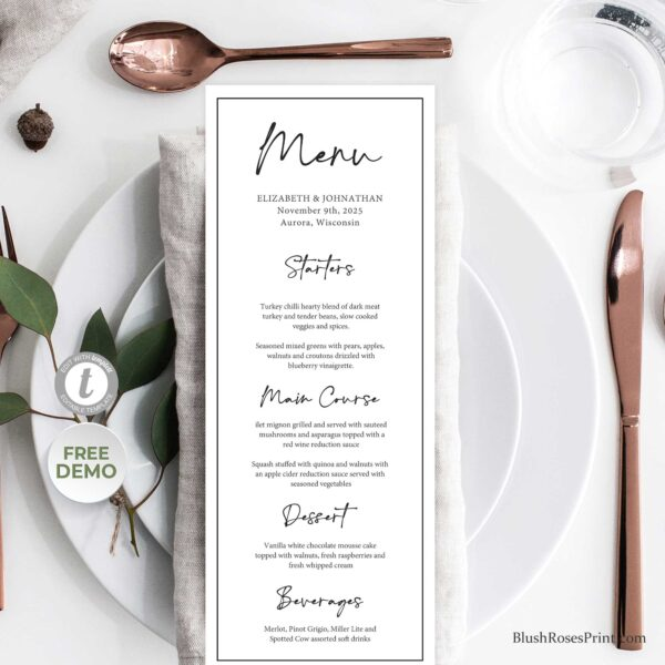 editable wedding menu classic