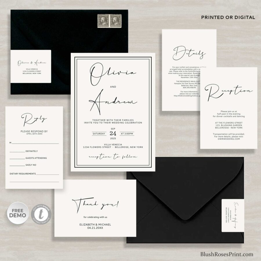 Modern Elegant Wedding Invitation Template in black and white