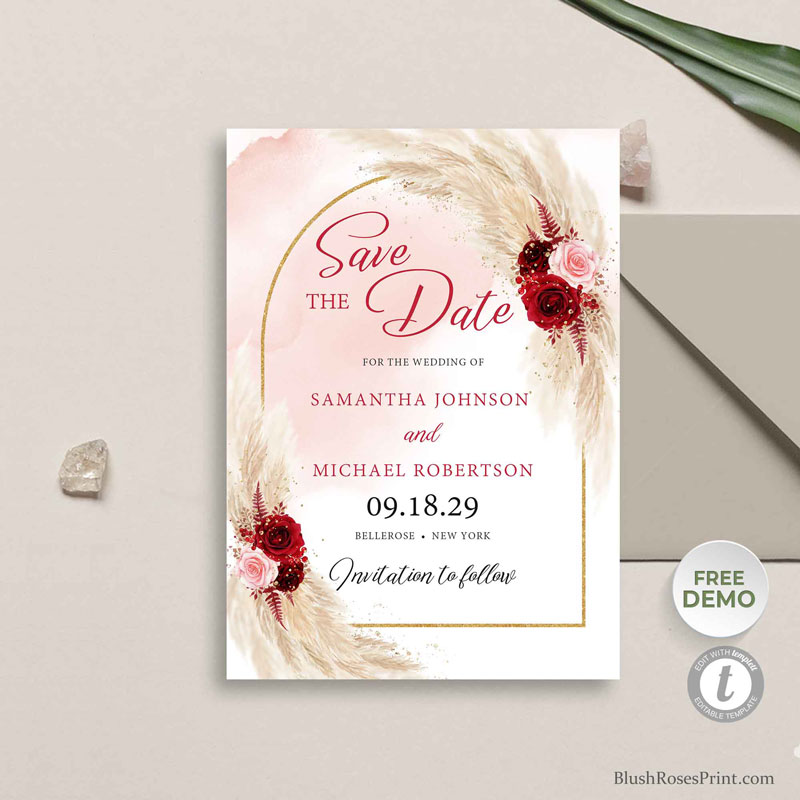 pampas grass blush burgundy floral save the date