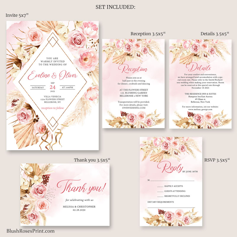dried palm leaves pampas grass and blush pink floral wedding collection