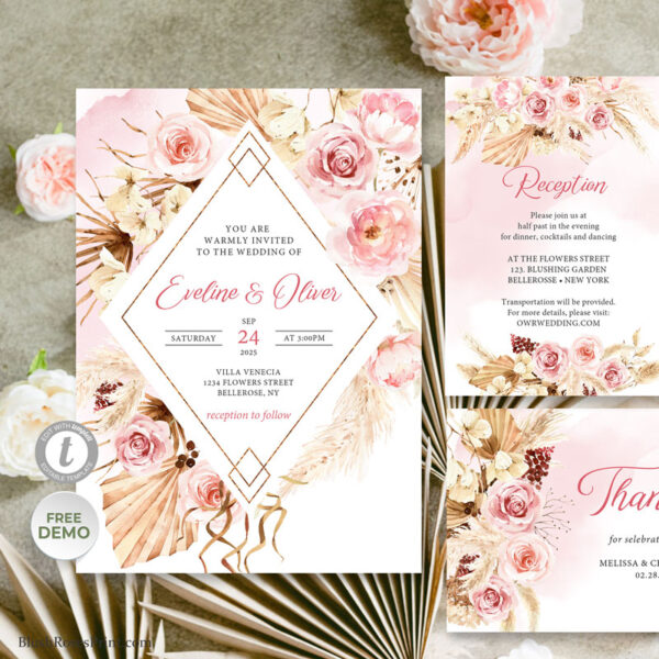 Dried Palm and Dusty Rose Wedding Suite Template Blush Pink Roses