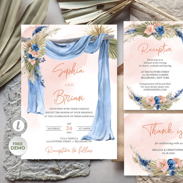 Wooden Arch and Dried Palm Wedding Suite Editable with TEMPLETT