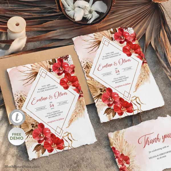 Dried Palm and Red Orchid Wedding Invitation Editable with TEMPLETT