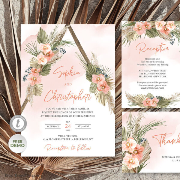dried palm and pampas grass wedding suite templates