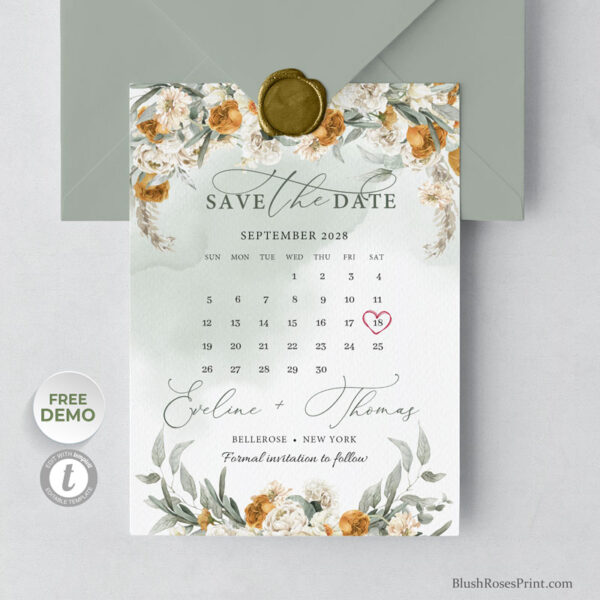 TERRI - Rust Flowers Save the Date Card Template
