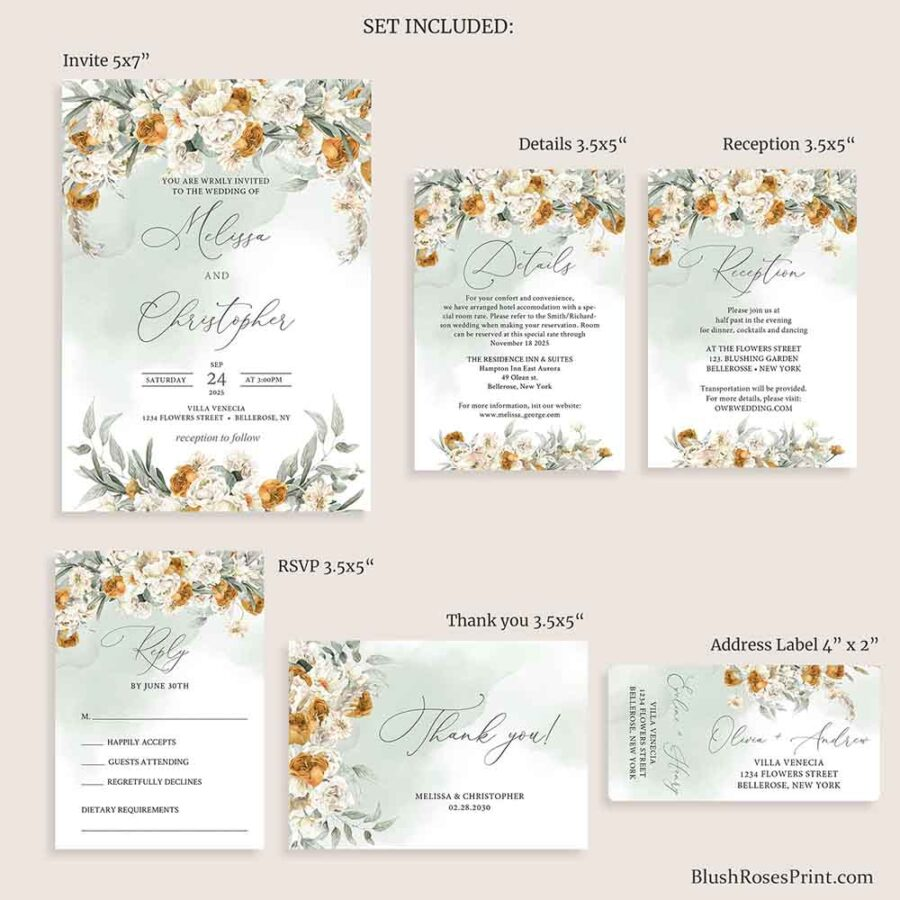 fully editable fall wedding set
