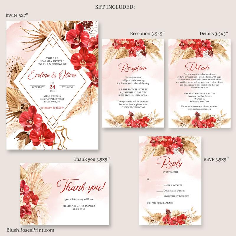 wedding set reception card details card thank you card