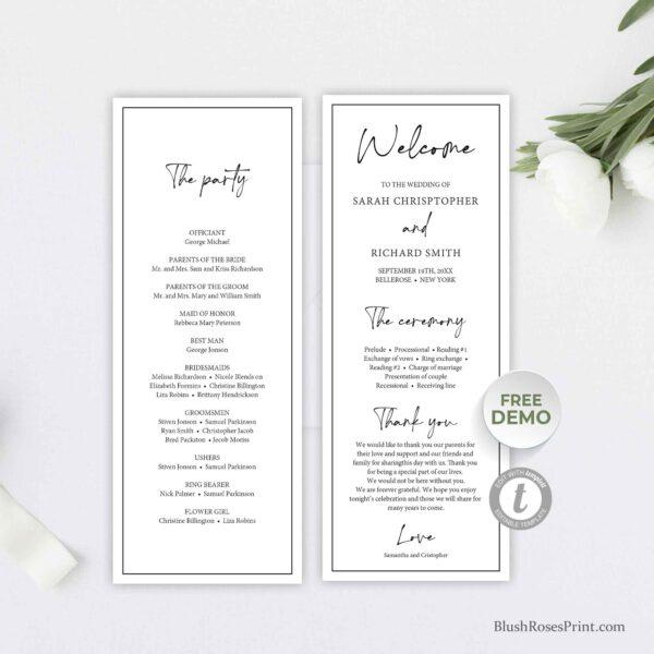 editable wedding ceremony program