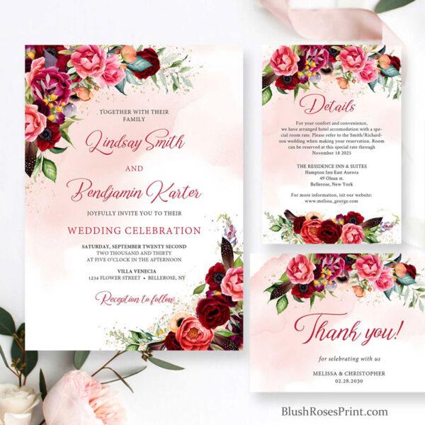 floral corner wedding invitation template