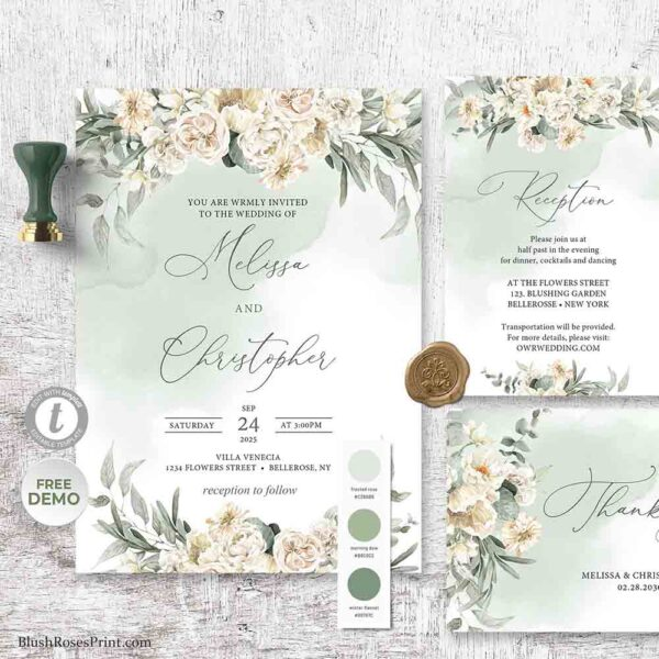 Sage Green Wedding Invitation Template edit with TEMPLETT suite