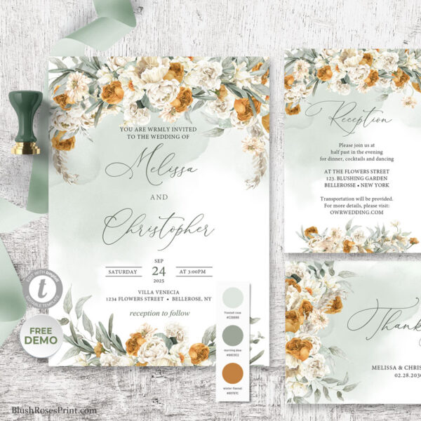 Burnt Orange Flowers Wedding Invitation Template Edit with TEMPLETT