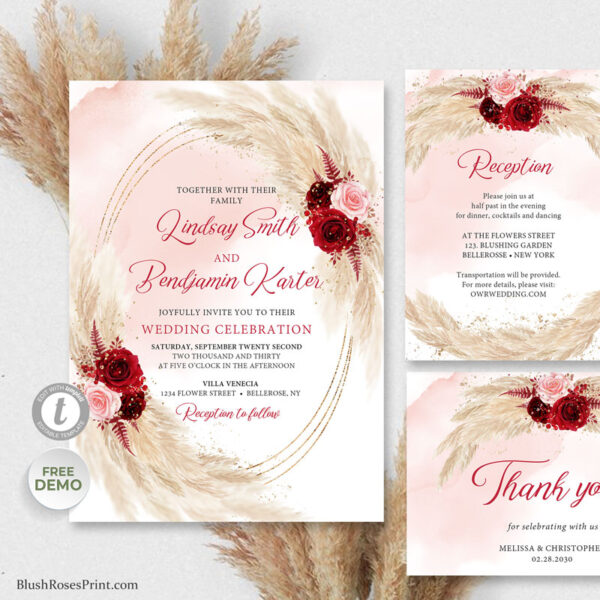 pampas grass and blush pink and burgundy flowers wedding templates