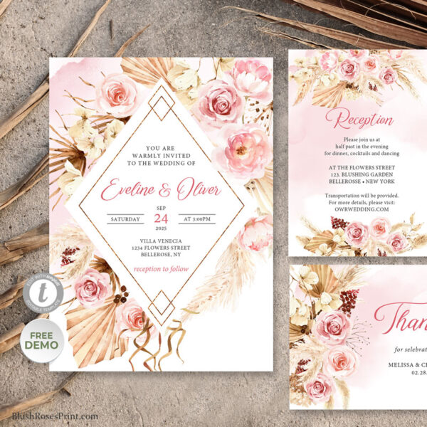 boho pale pink roses wedding invite template