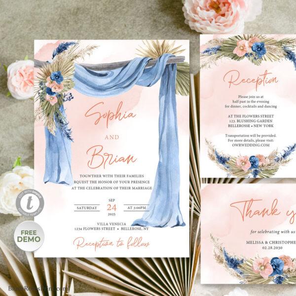 boho fall wedding invitation printable