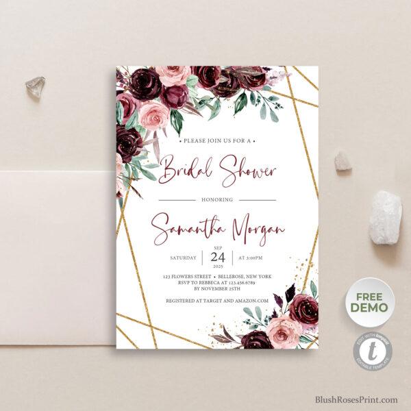 blush burgundy flowers roses bridal shower invitation template