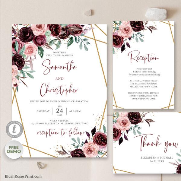 boho blush burgundy wedding invitation suite template