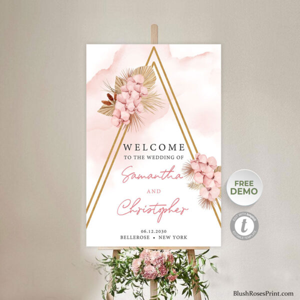 trendy boho wedding welcome sign template