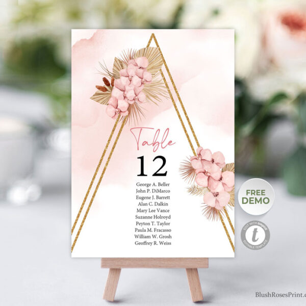 boho trendy dried palm wedding table number cards template