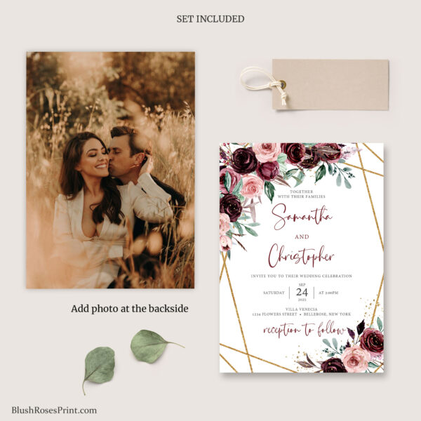 bohemian wedding pack with photo deep red roses