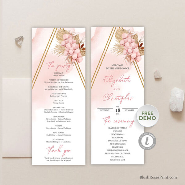 boho-dried-palm-leaves-wedding-program-template