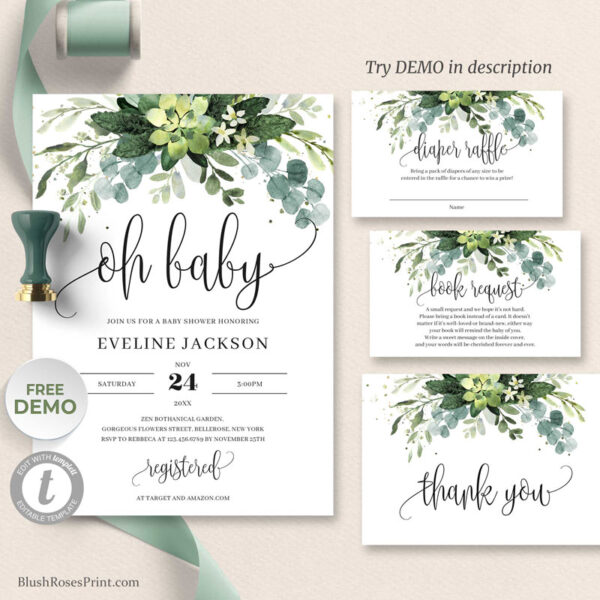 fresh greenery succulent oh baby invitation template