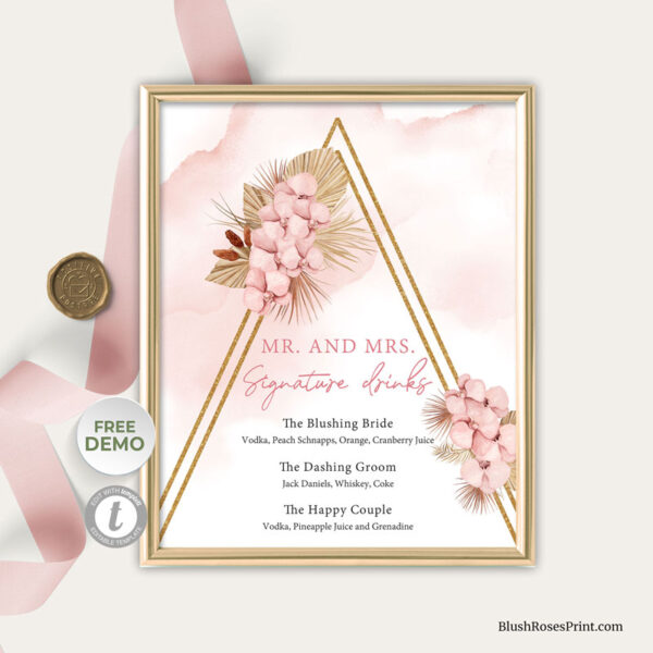 boho-trendy-dried-palm-leaves-blush-pink-flowers-signature-drinks-sign-template