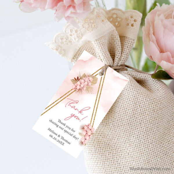 dusty pink orchid dried palm gold arch favor gift tag