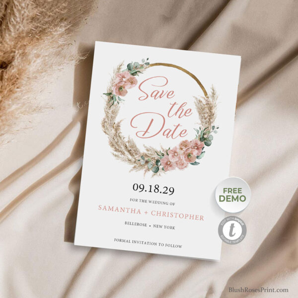 boho-wooden-arch-pampas-grass-wreath-eucalyptus-blush-rose-orchid-save-the-date